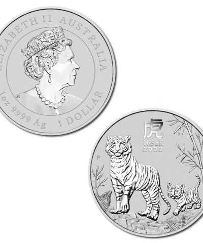 2022 Year of the Tiger Perth Mint Lunar 1 oz Silver Bullion Coin