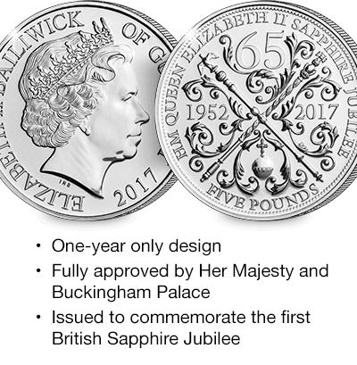 2017 Sapphire Jubilee Guernsey £5 BU in Capsule