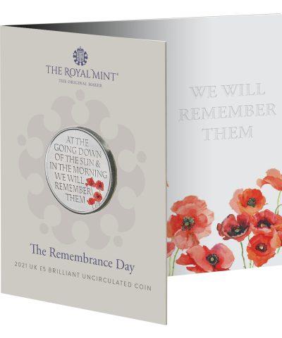 2021 Remembrance Day Poppy UK £5 Coloured BU
